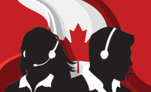 telemarketers in front of canada flag